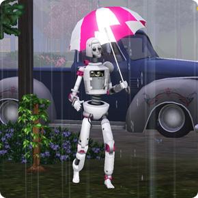 SimBot mit schützendem Regenschirm