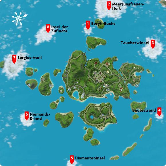 Übersichtskarte über alle unentdeckten Inseln