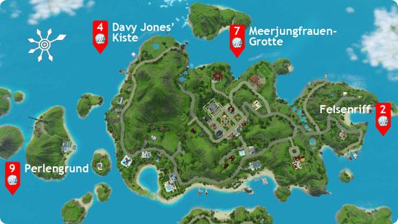 Lageplan der Sims 3 Tauchbezirke