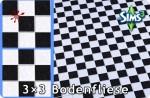 Bodenfliesen zum Schachbrettmuster zusammensetzten