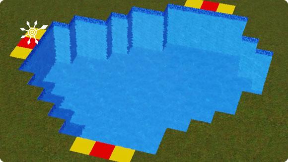Markierung der Einstiege des Badesees