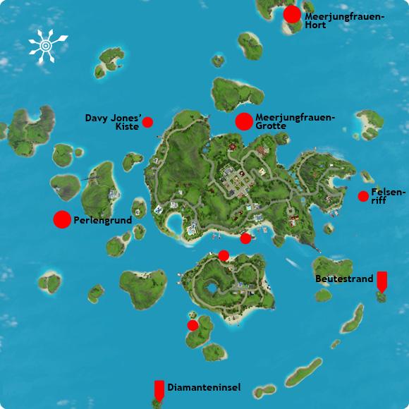 Karte zum Auffinden von Kartenteilen oder Rätsel zu unentdeckter Insel
