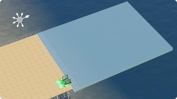 Platzierung der Gangway zum Andocken der Hausboote