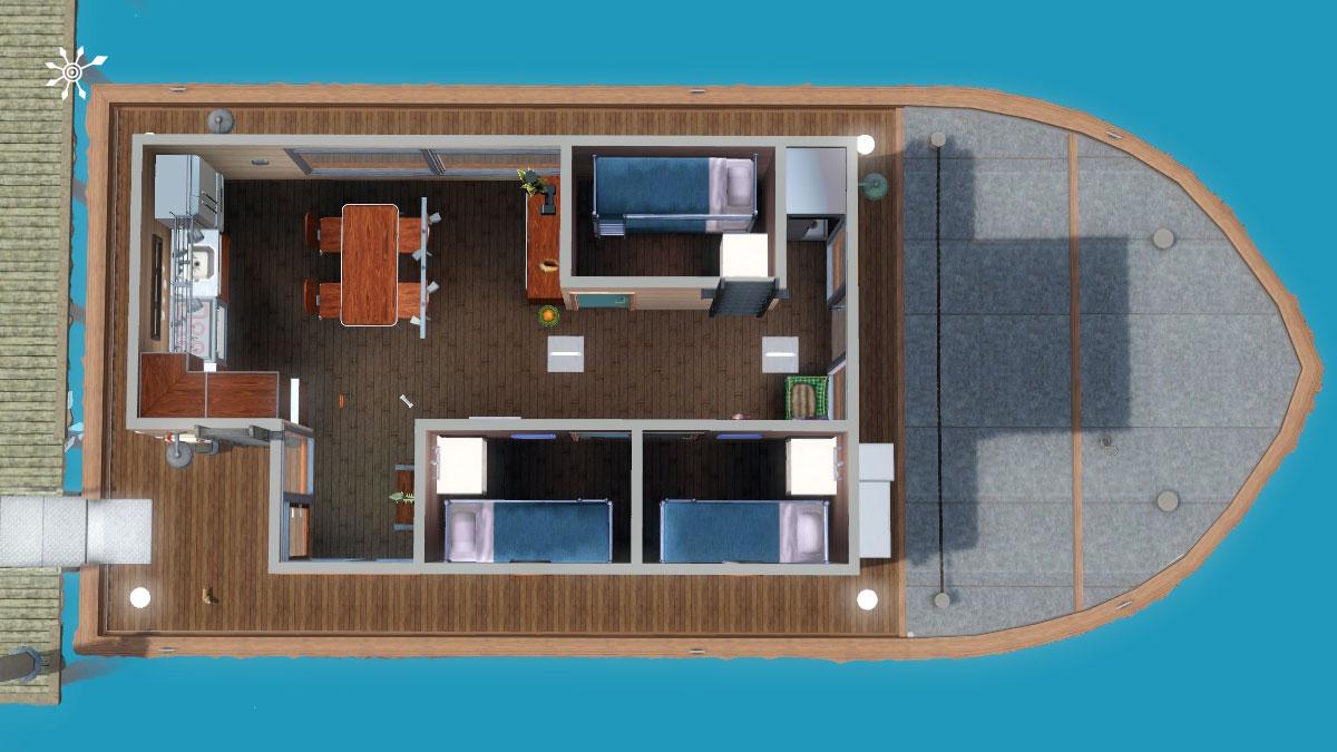 hausboot zum wohnen grundriss 1 deck simension. Black Bedroom Furniture Sets. Home Design Ideas