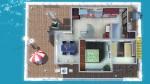 Komfortables Wohnboot – Grundriss Deck