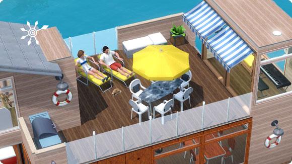 Sonnendeck auf einem Hausboot