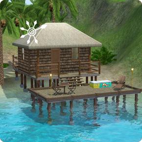 Hütte am Strand derInsel der Zuflucht