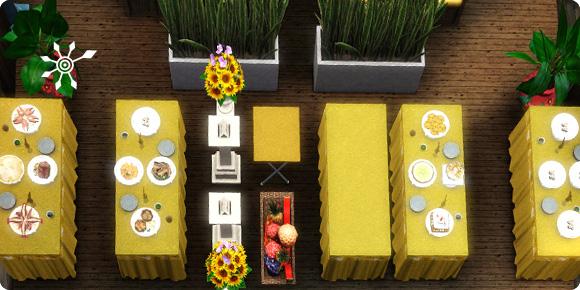 Sims 3 Buffet aus Oberflächen und Deko zusammensetzten