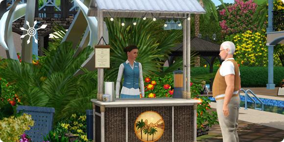 Imbissstand mit Verkäufer im Resort