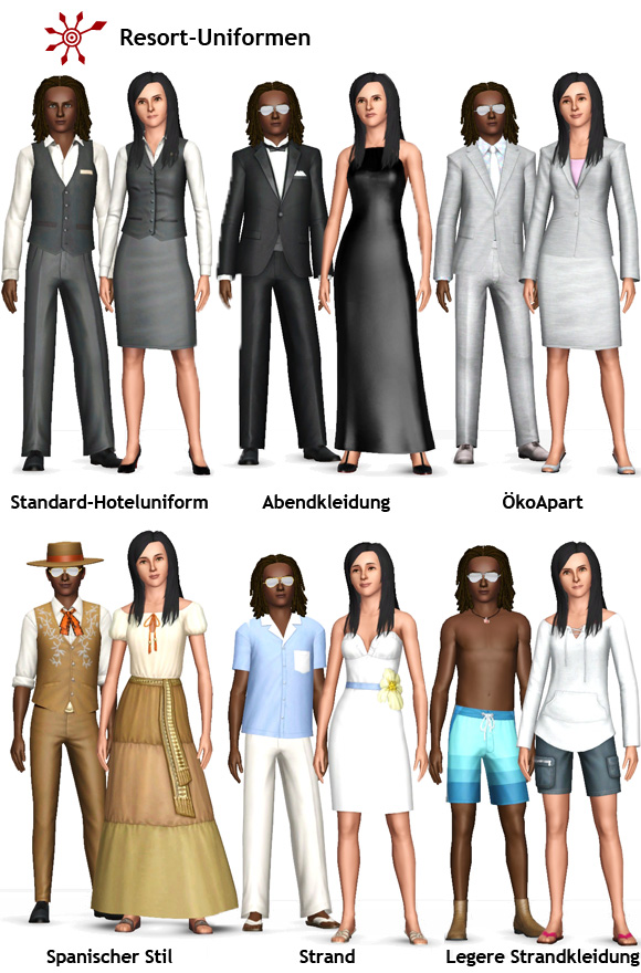 Sims 3 Resort-Uniformen