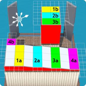 Pultdach – Übertragung der vier farbigen Höhen auf die Kabine
