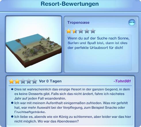 5-Sterne-Resort aufbauen: Bewertungen zu Beginn