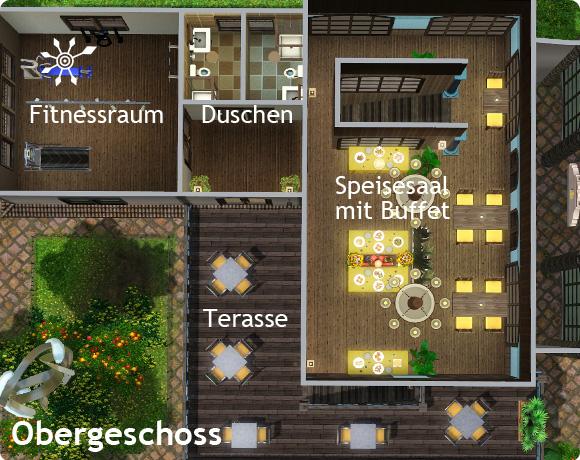 Sims 3 Resort bauen – Obergeschoss des Haupthauses