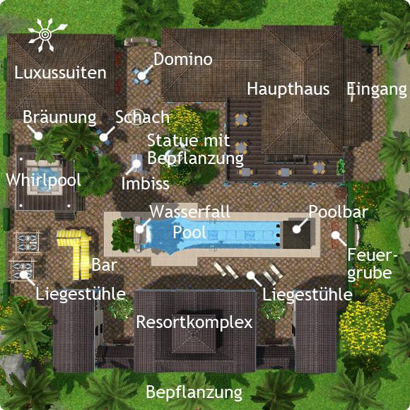 Sims 3 Resort bauen – Übersicht über die Hotelanlage mit ihren Attraktionen