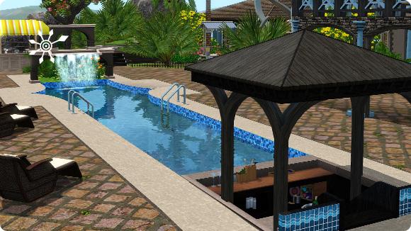 Tutorial: Sims 3 Resort bauen – Pool mit Poolbar und Wasserfall