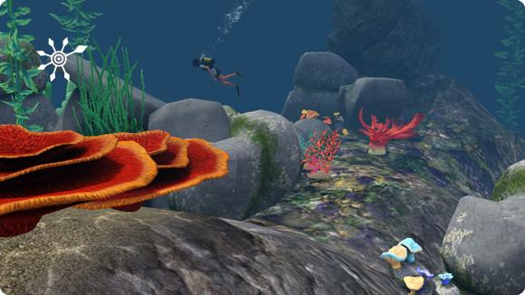 Dekoration des Tauchgrundstücks mit Korallen