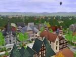 Blick von den Markthäusern auf Kirche und Buchladen