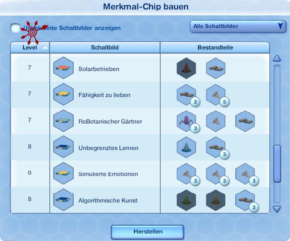 Sims 3 Fähigkeit Botbau – Auswahl Merkmal-Chips bauen