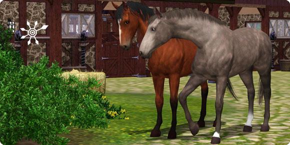 Die Sims 3 Pferde vor Stallgebäude