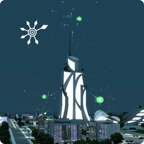 DigiPlosions-Show am Rathaus von Oasis Landing