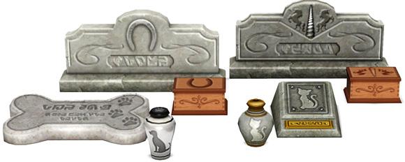 Grabsteine und Urnen der Tiere