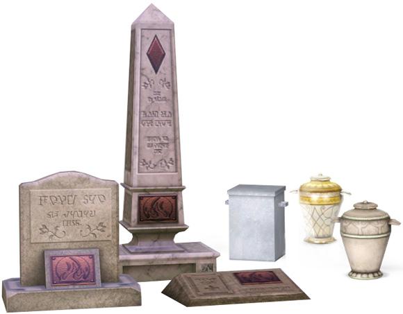 Grabsteine und Urnen der Sims