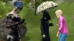 gegen sommerliche Hitze schützt sich Mephisto Schauder mit einem Sonnenschirm