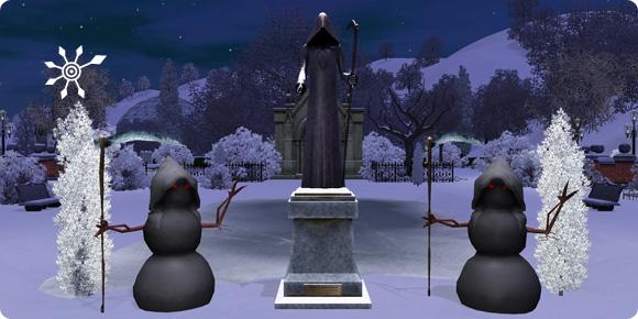 Statue und Schneemann zu Eheren von Mephisto Schauder