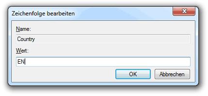 Windows Registry: Country anpassen auf Sprache Englisch