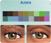 Die Sims 4 Augenfarbenauswahl