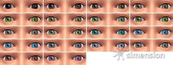 Die Sims 4 Erstelle einen Sim (CaS) bietet diese Augenfarben