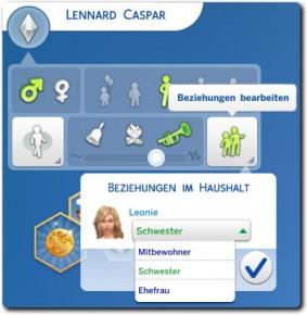 Die Sims 4 Erstelle einen Sim (CaS): Beziehungen bearbeiten