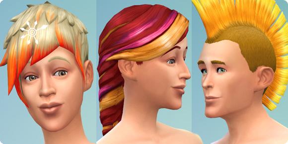 Die Sims 4 Frisuren mit Farbakzenten in Erstelle einen Sim (CaS)