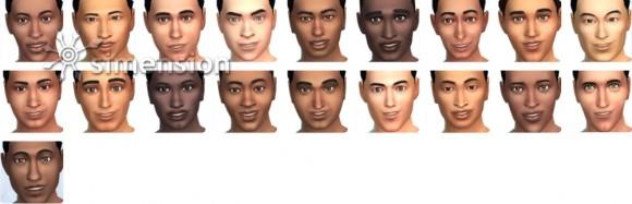 Die Sims 4 Gesichter und Hautfarben für Männer in Erstelle einen Sim