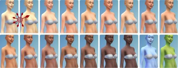 Vorlagen für die Körperfarbe im Die Sims 3 Erstelle einen Sim
