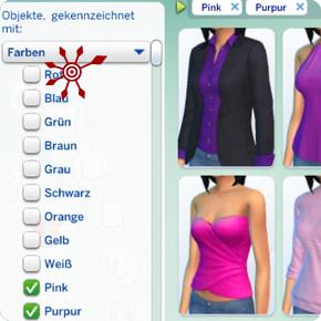 Farbfilter die Anzeige gleichfarbiger Kleidungsstücke
