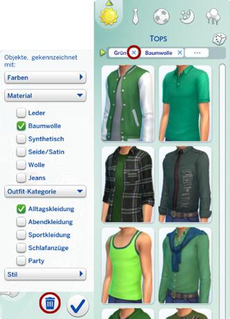 Filter für Kleidung in Die Sims 4