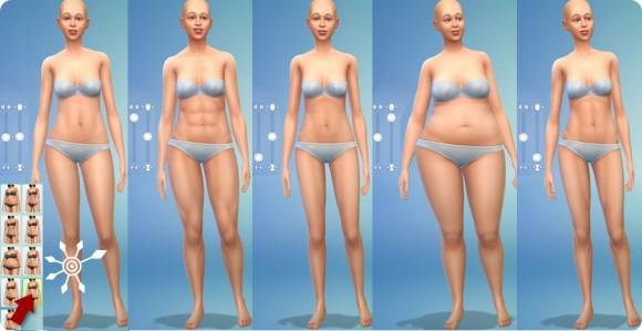 Muskelmasse und Körperfett in Die Sims 4 Erstelle einen Sim einstellen: Frauen