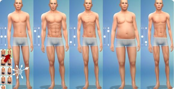 Muskelmasse und Körperfett in Die Sims 4 Erstelle einen Sim einstellen: Männer
