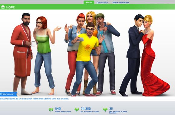 Die Sims 4 Galerie Willkommensbildschirm