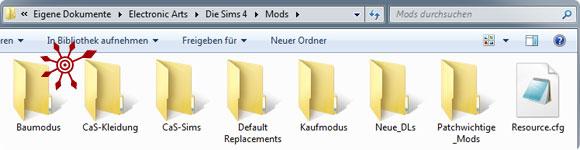Downloads (Custom Content, Mods) in Die Sims 4 in Unterordner sortieren