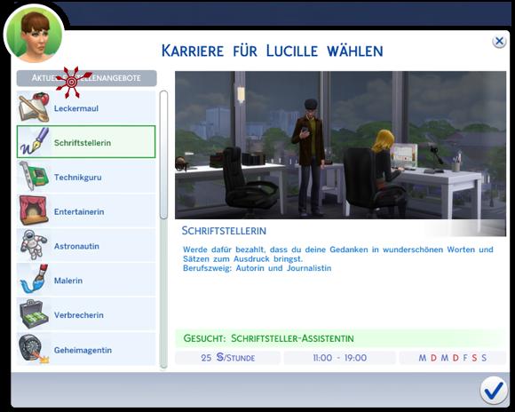 Sims 4 Auswahlfenster für Karrieren