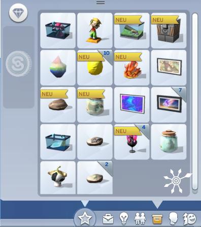 Die Sims 4 Inventar mit Sammelobjekten