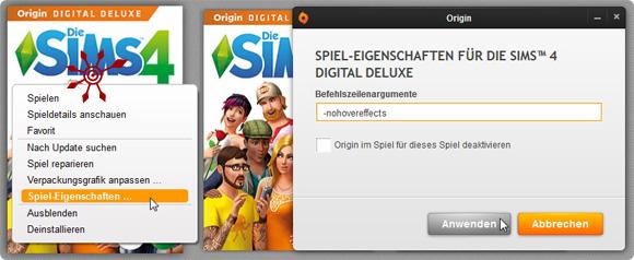Sims 4 Cheat hovereffects schon in Origin aktivieren