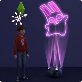 Die Sims 4 Bonusinhalt Lasershow in Aktion mit tanzendem Häschen