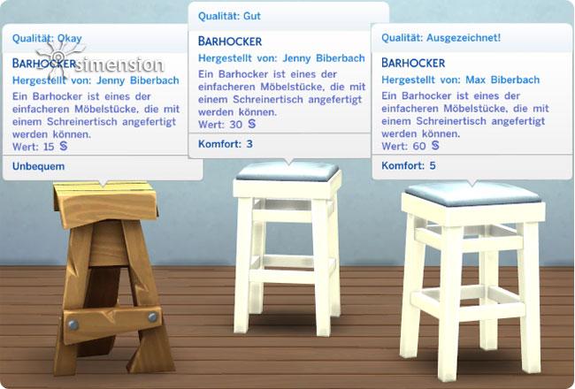 geschreinerte Möbel mit unterschiedlichen Qualitäten