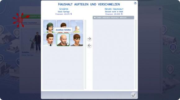 auszuquartierende Sims auswählen