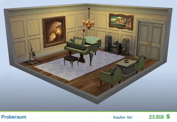Die Sims 4 Karriere Entertainer, Berufszweig Musiker: Gestaltetes Zimmer Proberaum
