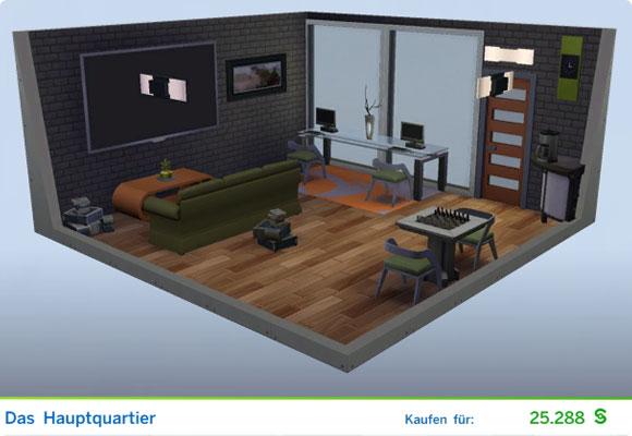 Die Sims 4 Karriere Geheimagent, Berufszweig Schurke: Gestaltetes Zimmer Herz der Finsternis