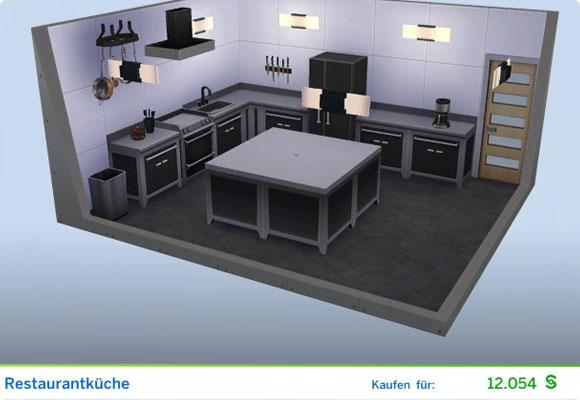 Die Sims 4 Karriere Leckermaul, Berufszweig Koch: Gestaltetes Zimmer Restaurantküche